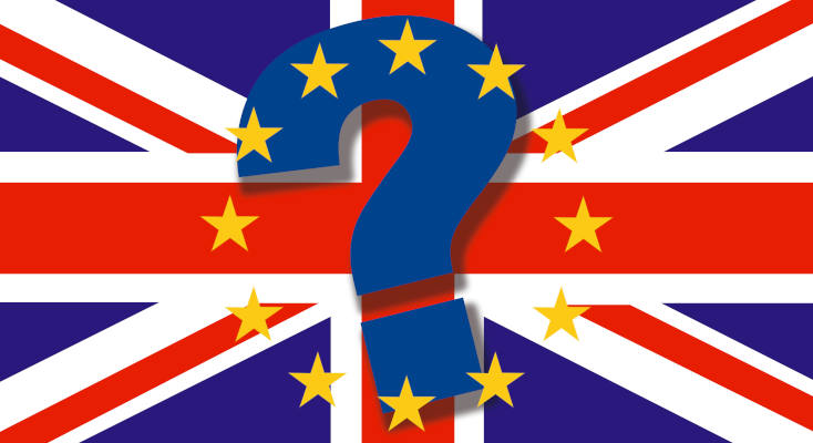 British Flag Big Question Mark Stars Top Brexit Concept England