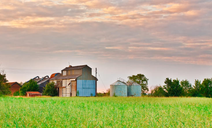 Farm buildings in rural Sussex